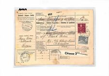 AN419 1953 SWITZERLAND LuganoPARCEL POST RECEIPT to ITALY