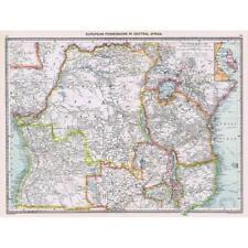 Antico Mappa 1906-POSSEDIMENTI EUROPEI IN AFRICA CENTRALE-harmsworth ATLAS