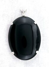 LARGE 40x30 40mm x 30mm Oval Sterling Silver Black Onyx Cab Cabochon Pendant