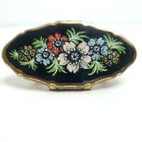 Vintage Stratton England Mirror Lipstick Holder Black Multi Color Flowers 934048