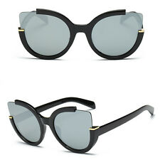 Retro Oversized Cat Eye Sunglasses Frame Flat Mirrored Lens Shades Women Fashion