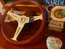 "NARDI Rolls Royce Wood Steering Wheel Corniche Magnolia Horn Button 15.3"" NEW"