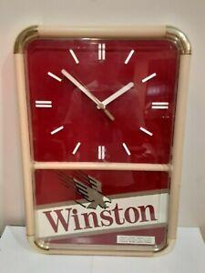 "VINTAGE RJ REYNOLDS WINSTON CIGARETTES WALL CLOCK SIGN 20"" × 13.5"""