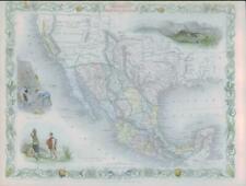 """1850 - RARE Antique Map """"MEXICO CALIFORNIA TEXAS"""" USA by TALLIS COLOUR (56)"""