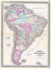 1870 JOHNSON MAP SOUTH AMERICA VINTAGE REPRO POSTER ART PRINT 2956PYLV
