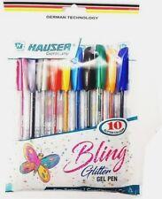 Hauser Bling Glitter Gel Pen (Pack of 10, Multicoloured)