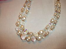 Vintage Laguna Two Strand AB Crystal Bead Faux Pearl Necklace Bridal Jewelry