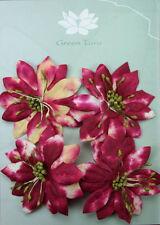 ASTER Flowers BATIK SUNSET Paper CHERRY GOLD 4Pk 60-65mm across Green Tara