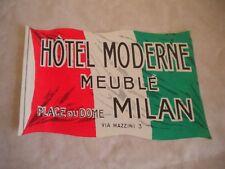 Vintage Luggage label Hotel Moderne Meuble Milan large type 1950s