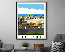 St Ives Vintage Travel Poster, Modern Wall Art Print