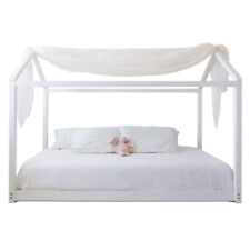 Mindful Living High Quality Wooden Twin Sized House Bed Frame and Canopy, White