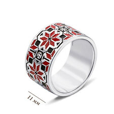 Sterling Silver Ring With Ukrainian Embroidery Design,Red&Black Enamel,Size 7.5