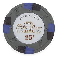 "25 ct Gray 25 Cents $0.25 ""Monaco Club"" Series 13.5 Grams Poker Chips"