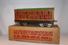 1930's Lionel #213 Standard Gauge Cattle Car with Box, Terra Cotta & Green