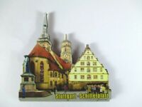 Stuttgart Schillerplatz  3 D Holz Souvenir Deluxe Magnet,Germany Deutschland,Neu