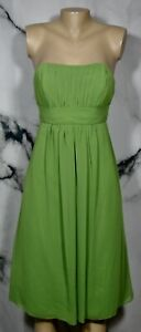 BILL LEVKOFF Green Strapless Dress 8 Ruched Accent at Bust Back Lined Knee Lngth