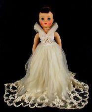 """Vintage 1959 Madame Alexander ELISE Brunette Wedding Bride Tagged Dress 16"""" Doll"""