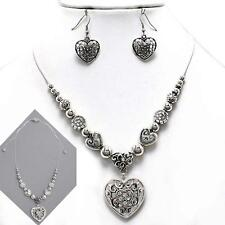 Crystal Heart Shamballa Necklace Set Silver Filigree Slide to Adjust Short/Long