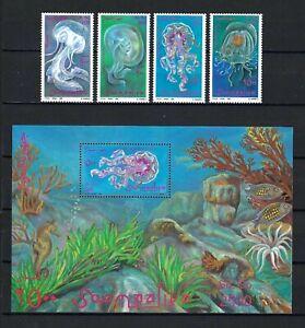 Somalia 1995 Mi#571-4,#575 Block 37  Jellyfish  MNH MS/SS Set $17.35
