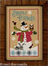 Lizzie Kate Snow Friends F112 Snowman Cross Stitch Pattern with Snowflake Button