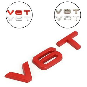 V6T Emblem Badge Fit For AUDI A1 A3 A4 A5 A6 A7 Q3 Q5 Q7 S6 S7 S8 S4 SQ5 Red TN