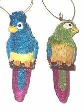 Christmas Bulb Ornament, Parrots Macaw Love Birds, NEW