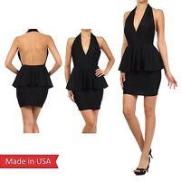 Women Fitted Halter Neck Open Back Bodycon Peplum Pencil Skirt Mini Dress USA
