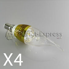 4 x Bombilla 3W LED E14 Vela larga Blanco Calido Color Oro 220V equiv.25W 30W