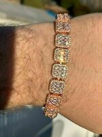 Men's 14k Rose Gold Over 30ct White Round & Baguette Diamond Tennis Bracelet