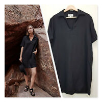 [ COUNTRY ROAD ] Womens Black Organic Linen Popover Dress | Size AU 6 or US 2
