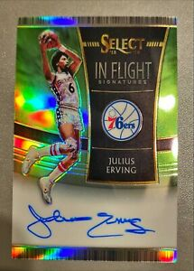 2018-19 Panini Select Julius Erving #'d/35 In Flight Auto Neon Green - On Card