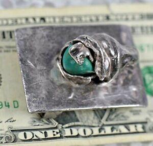 H. Alvin Sharp  Turquoise  Sterling Silver  Handmade Belt Buckle  Mardi grass