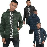 Crosshatch Mens Camo Hoodie Designer Army Style Jacket Zip Thru Pocket Jacket