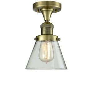 Innovations 1 Light Small Cone Flush Mount in Antique Brass - 517-1CH-AB-G62