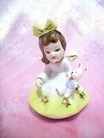 RARE VTG Easter Yellow Angel Girl Holds Bunny w Bow & Gold Stars & Trim Figurine