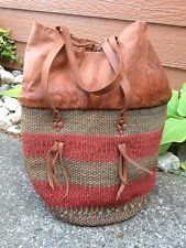 Large Woven Straw Tote Bag Beach Market Bag Leather top and Straps