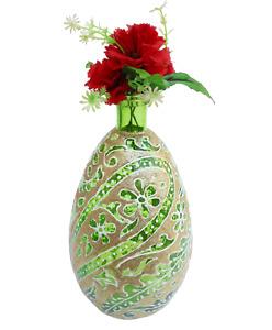 "12"" H Green Glass Vase In Brocade / Zari Leaf Flower Design"