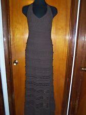 Victoria's Secret Moda International Brown Lined Crochet Halter Maxi Dress XS S