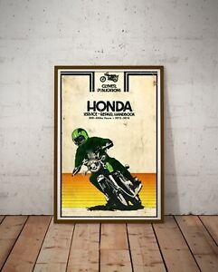 "1972-74 HONDA Motorcycle Handbook POSTER! (Up to full-size 24"" x 36"") - Moto Art"