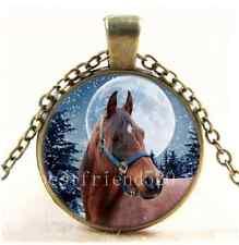 Vintage Winter Horse Photo Cabochon Glass Bronze Chain Pendant Necklace