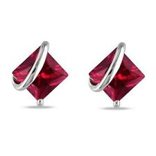 2.33 CT Princess Cut Ruby Solitaire Stud Earrings 14K White Gold Over Mother Day