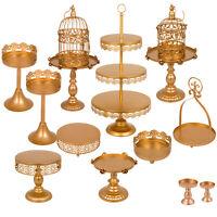 12 PCS Cake Stands Rack Dessert Holder Display Set Metal Antique Gold Wedding