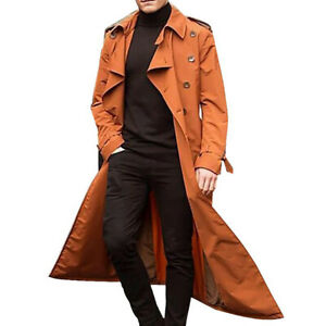 Mens Winter Warm Long Trench Coat Lapel Parka Jacket Fashion Overcoat Outwear US