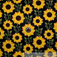 BonEful Fabric FQ Cotton Quilt Black Yellow Sun*Flower Orange Red Green Leaf Dot
