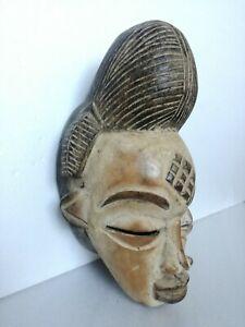 Masque Africain Gabon en Bois Sculpté Ethnique Peint Xx Seconde Afrique 35cm