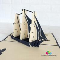 Handmade White Sailing Boat Pop Up Card