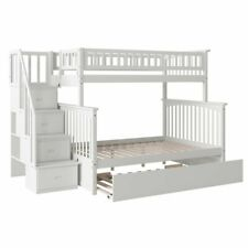 Bowery Hill Solid Wood Twin over Full Bunk Bed with Trundle in White