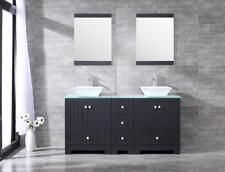 "60"" Bathroom Double White Ceramic Sink Vanity Cabinet w/ Glass Countertop&Mirror"