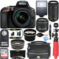 Nikon D5600 24MP DSLR Camera 18-55mm VR & 70-300mm ED Lens 16GB Accessory Bundle