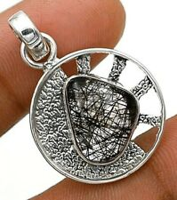 Black Rutilated Quartz 925 Solid Sterling Silver Pendant Jewelry NW4-2
